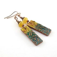 Yellow and Teal Earrings  Teal Earrings  Copper by CinLynnBoutique