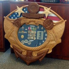 American Shadow Box with Flag Area Military Box, Military Shadow Box, Navy Military, Military Gifts, Military Gear, Challenge Coin Holder, Challenge Coins, Memory Crafts, Hat Boxes