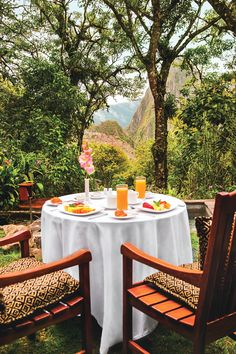Private use of the hot tub, a Mimosa cocktail and views of Machu Picchu = the perfect breakfast experience at Belmond Sanctuary Lodge.