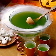 Fun punch for the party... With lime drink and pineapple juice, this party punch isn't scary at all–for the kids or the adults. But putting the punch in a second bowl of dry ice gives it that eerie feeling that's perfect for a spooky party Green Punch, Halloween 2014