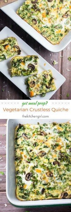 Meal prep for breakfast on the go. Meatless, lots of veggies, gluten-free, easy and healthy. Vegetarian Crustless Quiche. thekitchengirl.com