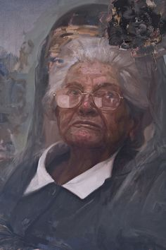 black and white - woman - portrait - figurative painting - Nicolás Uribe