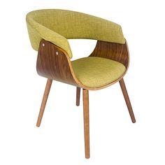Essa cadeira estilosa e confortável em madeira e tecido verde consegue ser clássica e moderna ao mesmo tempo.