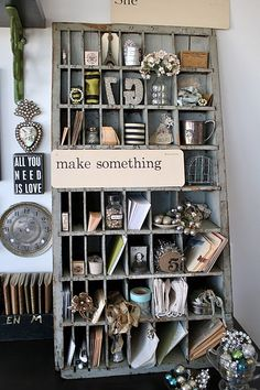 "I want a ""Make Something"" corner sooo bad!! If your thrift shop has lots of odds & ends, gather them into a ""Make Something"" corner, maybe in baskets by categories (metal? green? fabric?) and you'll inspire ARTISTRY!"
