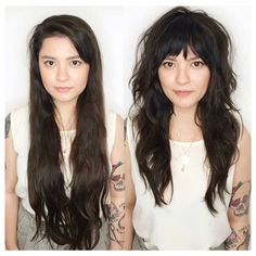 It s never too late for a dramatic transformation coastalhair_sf hairgoals hairdressermagic salonlife hairtrends sexy Curly Hair Styles, Medium Hair Styles, Hair Fringe Styles, Hairstyles With Bangs, Pretty Hairstyles, Long Shag Hairstyles, Hairstyle Ideas, Easy Hairstyle, Long Hairstyles With Layers