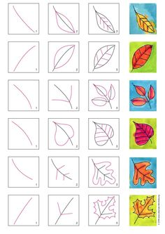 How to Draw Fall Leaves · Art Projects for Kids Learn how to draw leaves, and then put them in a grid. A variety of types, sizes and positions will make a pretty fall painting. Fall Drawings, Art Drawings For Kids, Art For Kids, Autumn Art Ideas For Kids, Scenery Drawing For Kids, Fall Art Projects, Projects For Kids, 3rd Grade Art, Leaf Drawing