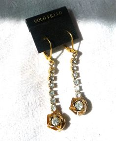 Vintage Pendant Earrings with Rhinestone Flower Drops. Upgraded with new gold-filled lever-back ear hooks for pierced ears. At AngelGrace on Etsy.
