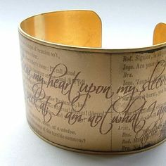 Shakespeare Cuff Quote Bracelet  Othello -  'Wear My Heart Upon My Sleeve'