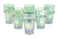 S/6 Beldi Moroccan Glasses, Green | One Kings Lane