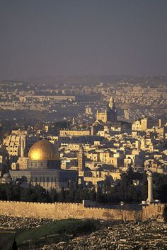 'View of the Old City of Jerusalem from Mount Scopus in Israel.'