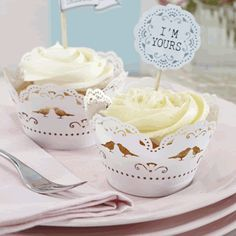 Dainty vintage inspired cupcake wraps with intricately lasercut bird and lace design are the perfect way to present your cupcakes. Pack of Lace Cupcakes, White Cupcakes, Wedding Cupcakes, Wedding Cake Toppers, Vintage Cupcake, Cupcake Wraps, Cupcake Cakes, Wedding Favours, Wedding Themes