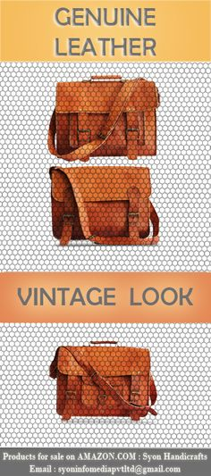 A complete range of vintage style Goat Leather Bags by Syon Handicrafts !!