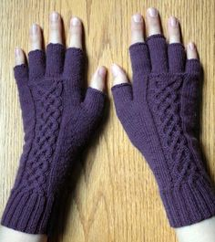 The tipless glove pattern out of Holiday Knits done in Elann's Baby Cashmere with some minor alterations to fit at cable out of Viking Patterns for Knitting by Elsebeth Lavold Cable Knitting Patterns, Loom Knitting, Knitting Stitches, Free Knitting, Hat Patterns, Stitch Patterns, Fingerless Gloves Knitted, Crochet Gloves, Knit Mittens