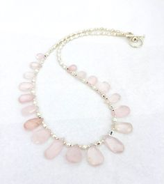 Pink Rose Quartz Teardrop Gemstone Necklace, Beaded Jewelry, Pale Pink Jewellery, Bib Collar Necklace, Natural Stone, Perfect Gift For Her by PreciousHCJewellery on Etsy