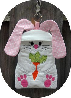 In the Hoop Bunny Zipper Case machine embroidery design created by EmbroideryGarden.com