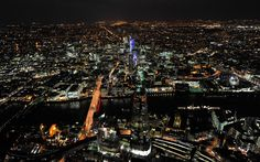 The Shard, the City and North London at night