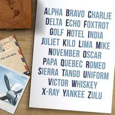 Modern Aviation Art Print Pilot's Phonetic by AddisonAndLake