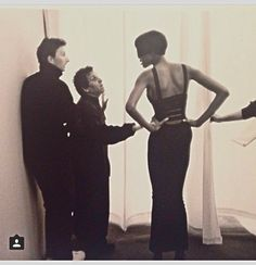 1990 - Azzedine Alaia show backstage - Naomi Campbell & Azzedine photographed by Sante Orazio.