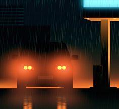 Amazing City Lights Illustrations-2 (Fubiz)  Rain and lights.
