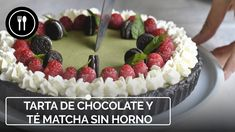 Tarta de té matcha, chocolate blanco y Oreo sin horno | Instafood
