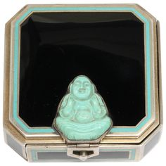 1920s Tiffany & Co. France Art Deco Enameled Sterling Silver Compact | From a unique collection of vintage enamel frames and objects at https://www.1stdibs.com/jewelry/objets-dart-vertu/enamel-frames-objects/