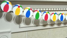 Beach Ball garland is perfect for decorating a Beach ball themed party or baby shower! Colors can be customized. Your choice 3 or 5 ft garland. There are 9 Beach Balls on a 3 ft. strand and 15 Beach Balls on a 5 ft. strand. Beach Balls are approximately 3.5 inches tall and are