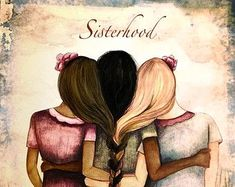 sister gift to sister, gift for friend, intertwined hair, braided hair ,wall art gift for sister Three sisters vintage art print with quote Trois sœurs vintage art imprimé avec citation par claudiatremblay Sister Gifts, Mother Gifts, Gifts For Friends, Friend Gifts, Sisters Art, Three Sisters, Kawaii Couple, Mothers Day Drawings, Movies Quotes