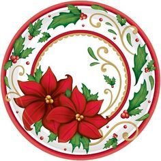 Winter Botanical Round Paper Plates For Festive Christmas, 60 Ct. Christmas Poinsettia, Christmas Plates, Christmas Ornaments, Xmas, Wooden Ornaments, Green Christmas, Christmas Holiday, Holiday Decor, Decoration Table