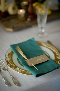 REVEL: Teal + Wheat Place Setting not the wheat but i love this color teal with the gold, matches the inside of rooms