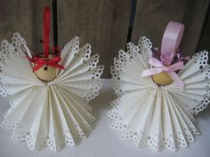 Angel Christmas Ornament White Paper Lace Ribbon by SnowNoseCrafts