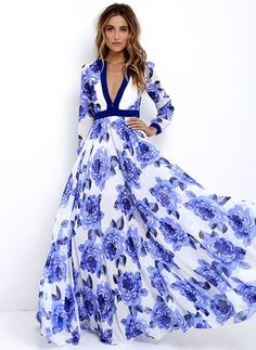 Polyester Floral Long Sleeve Maxi Casual Dresses (1035305) @ floryday.com