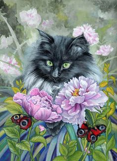 Cat art, cat paintings, butterfly art by noted painter Denise Freeman I Love Cats, Crazy Cats, Gatos Cats, Cat Drawing, Cats And Kittens, Ragdoll Kittens, Funny Kittens, Bengal Cats, White Kittens