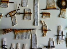 Alice Fox | Tide Line fragments (nails added to weaving then rusted; absolutely beautiful!) Rust+white+gray: