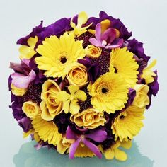 Love this purple and yellow bouquet