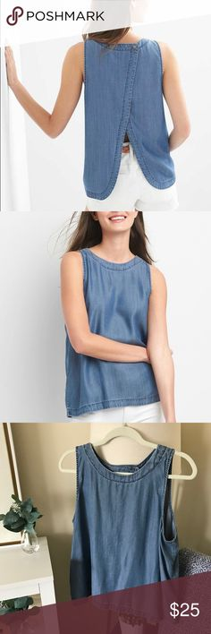 GAP / Denim Tencil Tulip Back Sleeveless Top The most comfortable denim top you'll ever own, super soft to touch and such a versatile piece to add to your closet. Chambray • Tencel • GAP 1969 • Lyocell • Color: Dark Indigo GAP Tops