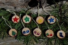 "Handmade, hand painted 1-1/2"" wood slice Christmas decorations. $3.00 each or choose any 10 for $25.00, shipping $2.95."