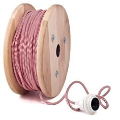 RED-WHITE ZIG-ZAG Color Fabric Lighting Flex Round Cable - Cablelovers