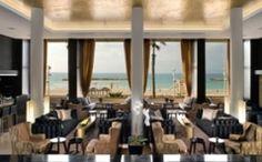 glorious views from the plush lobby of the Dan Tel Aviv Hotel