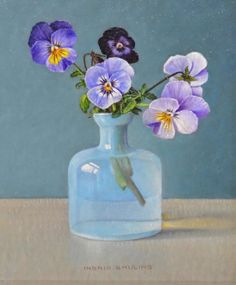 For Sale on - Violets in Opal Blue Bottle - Ingrid Smuling, Century Contemporary Painting, Oil Paint by Ingrid Smuling. Offered by Galerie Bonnard. Acrylic Painting Flowers, Watercolor Paintings, Blue Bottle, Painting Still Life, Flower Oil, Bottle Painting, Contemporary Paintings, Pansies, 21st Century
