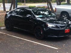 "Scion Tc, 2012, limo tint, HID headlights, 18"" black/red rims"