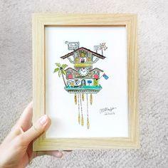 #watercolor #cuckooclock swiss clock custom art marinamuse @marinamusestudio graphic design Watercolour Painting, Clock, Graphic Design, Frame, Illustration, Gifts, Instagram, Decor, Art