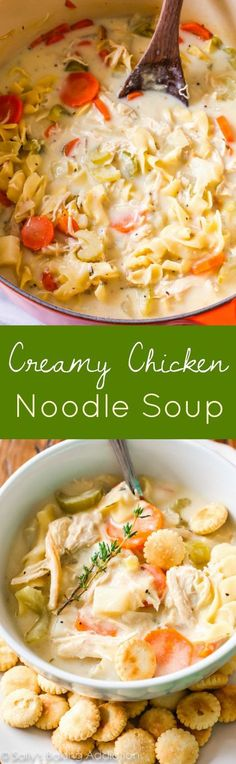 This lightened-up creamy chicken noodle soup has only 200 calories per serving!