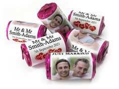 Wedding Favours - Love Heart Sweets with Colour Foil choices - - Mr & Mr Wedding Favours Love Hearts, Wedding Favour Sweets, Wedding Favors, Mint Sweets, Love Heart Sweets, One Design, Special Day, Choices, How To Apply