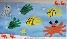 les poissons avec les empreintes de mains, , explications sur mon blog http://nounoudunord.centerblog.net/rub-activie-1er-avril-.html