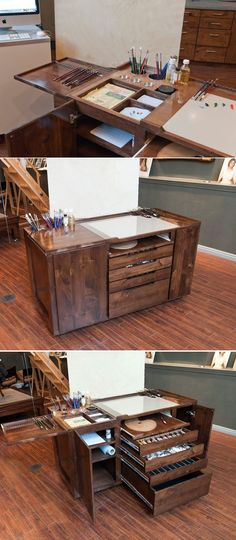Nice Bench / Desk for a artist-painter.  For me, it would also be quite a nice woodworking project.