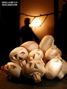 Make your Halloween veggie tray a bit more spooky with these Mushroom Skulls!