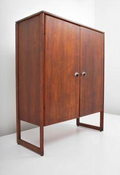 Jens Risom; Walnut and Aluminum Cabinet, c1960.