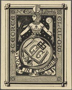 Bookplate of George Clalow.Unsigned.Pratt Institute Libraries.