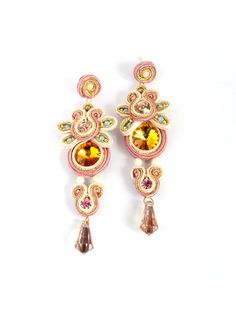 Statement earrings with crystals. Hand embroidered by bijouSOL, $50.00