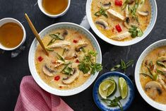Coconut milk tames the heat and combines deliciously with shredded chicken breast in Spicy Thai Coconut Chicken Soup. Chicken Coconut Soup, Thai Chicken, Chicken Soup, Asian Recipes, Healthy Recipes, Ethnic Recipes, Food Network, Soup Recipes, Cooking Recipes